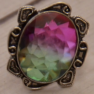 huge tourmaline crystal 925 sterling silver ring 9